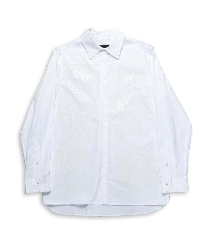 Erosion Print Long Sleeve Shirt - White