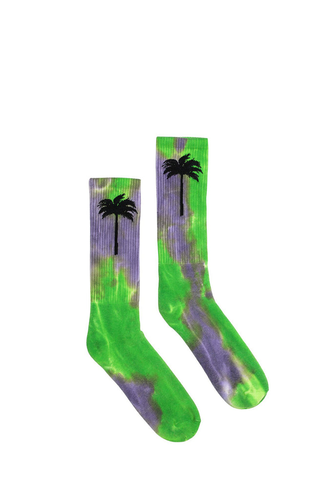 Tie Dye Palm Socks - Black