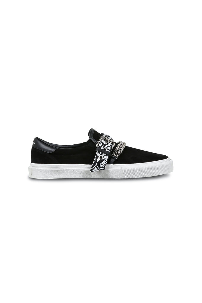 Slip-On Bandana Suede Sneakers - Black