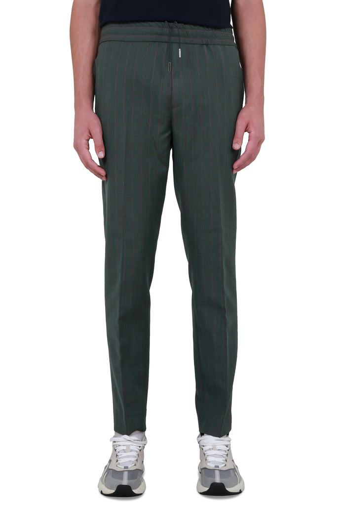 Elastic-waist Checked Trousers