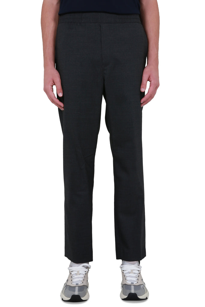Cropped Wool Trousers - Dark Grey Melange