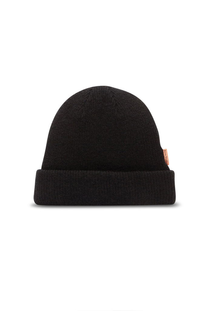 Ribbed Wool Beanie - Black