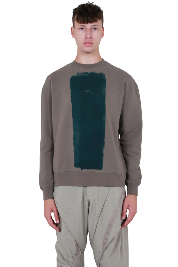 Block Painted Crewneck Sweater - Charcoal