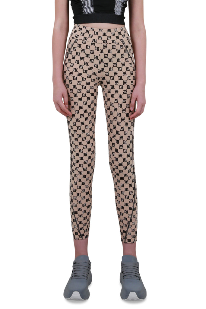 Monogram High-Waisted Leggings - Beige