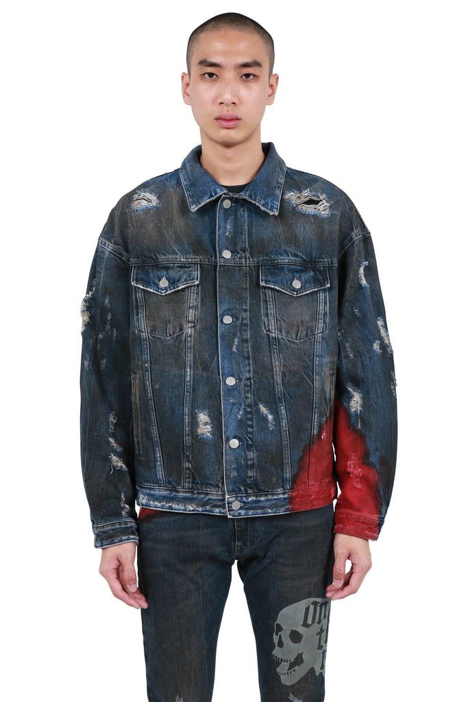Wyatt Dip Dyed Denim Trucker - Indigo/Red