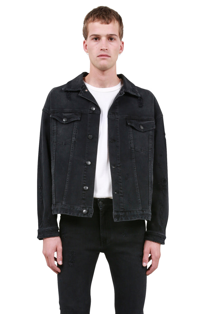 Rocky Gang Gang Chain Denim Jacket - Black