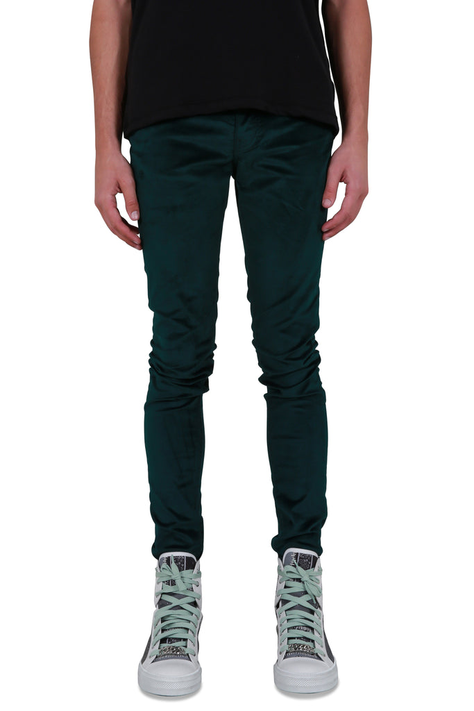 Velour Skinny Stack Pants - Jaguar Green