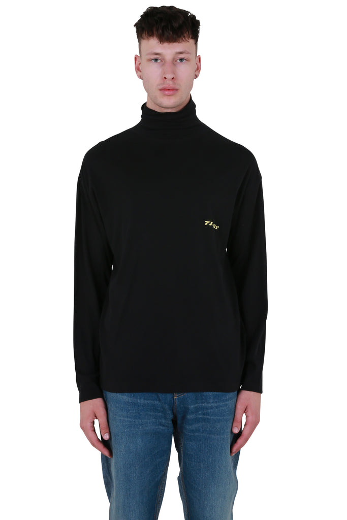New Print Turtleneck Long Sleeve - Black