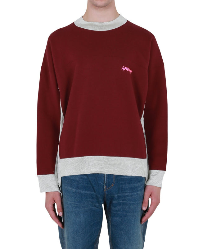 Panel Sweatshirt - Wine/Beige