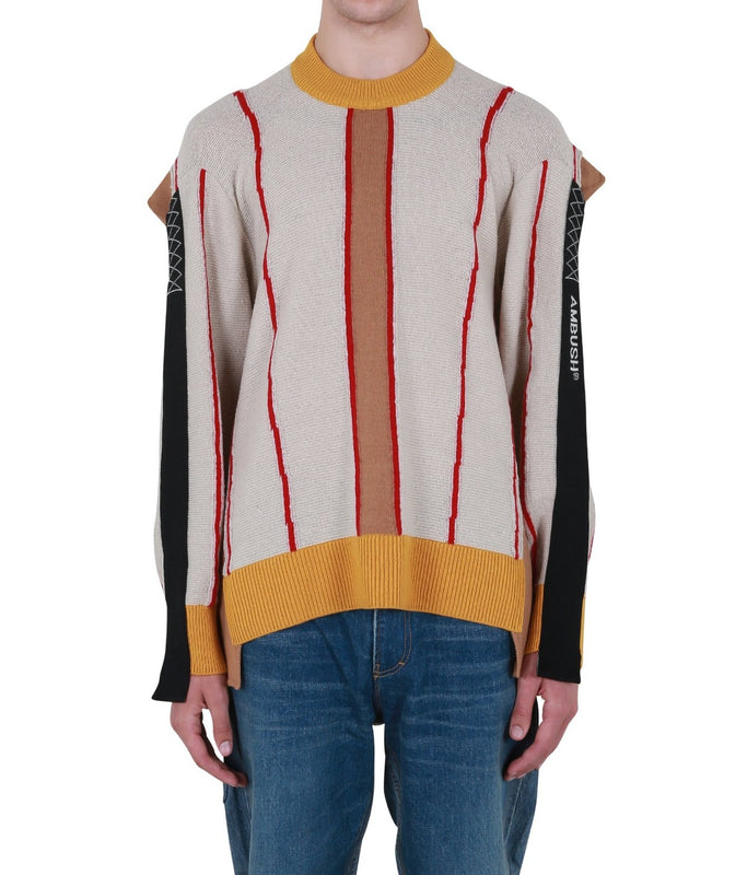 Folding Crewneck Knit - Beige Multi
