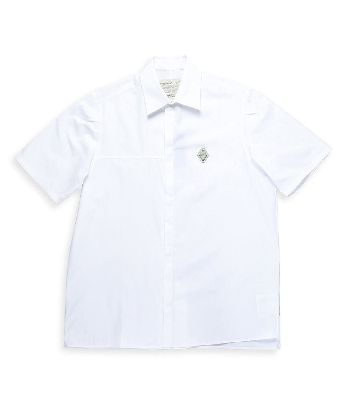 Rhombus Badge Short Sleeve Shirt - White