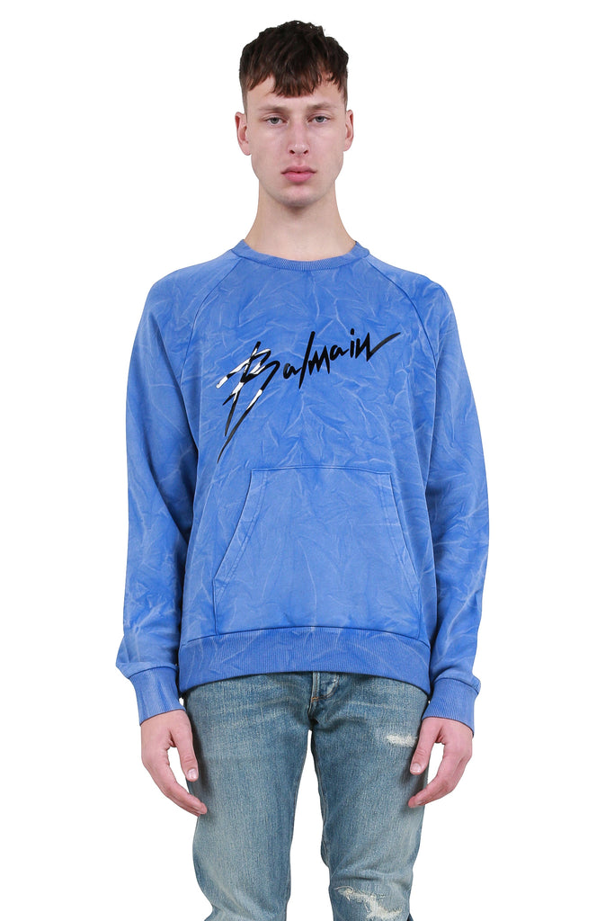 Signature Logo Crinkled Sweatshirt - Blue