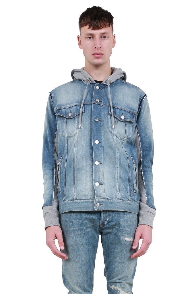 Hooded Denim Jersey Jacket - Blue