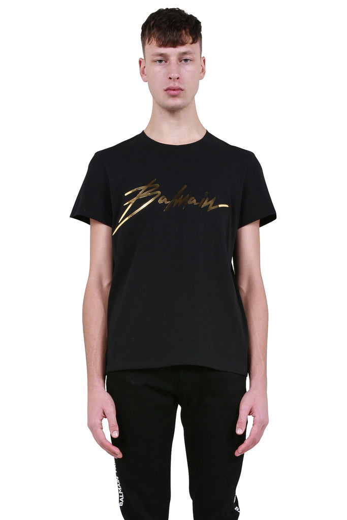 Gold Signature Logo T-Shirt - Black