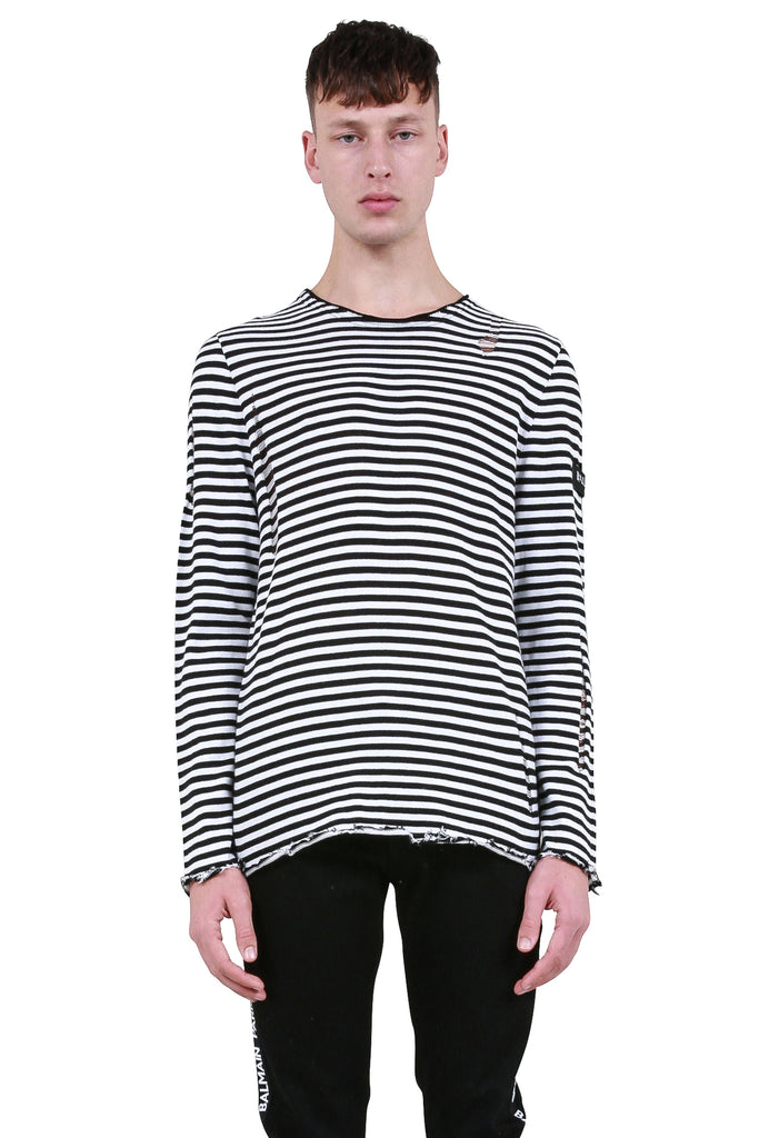 BALMAIN: Distressed Striped Long Sleeve T-Shirt | LESSONS