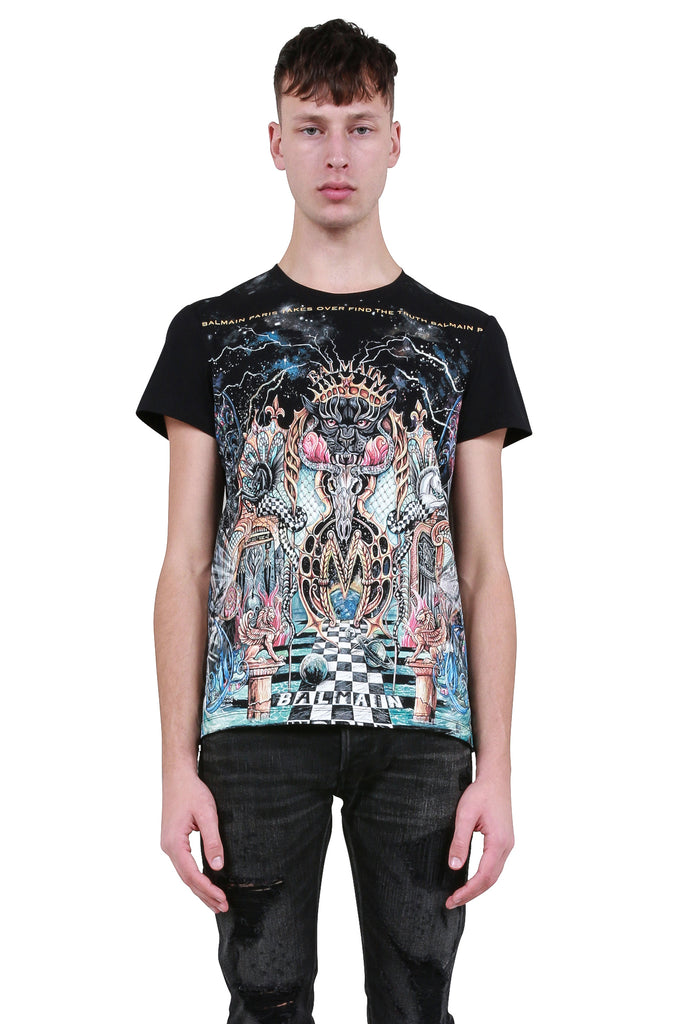 Multicolor Graphic Print T-Shirt - Black