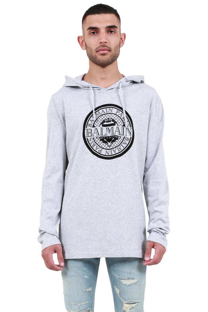 Hooded Long Sleeve T-Shirt - Grey Melange