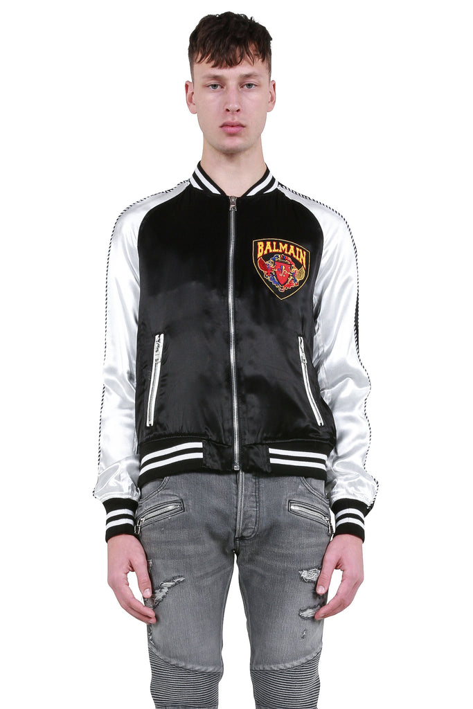 Logo Badge Bomber Jacket - Black