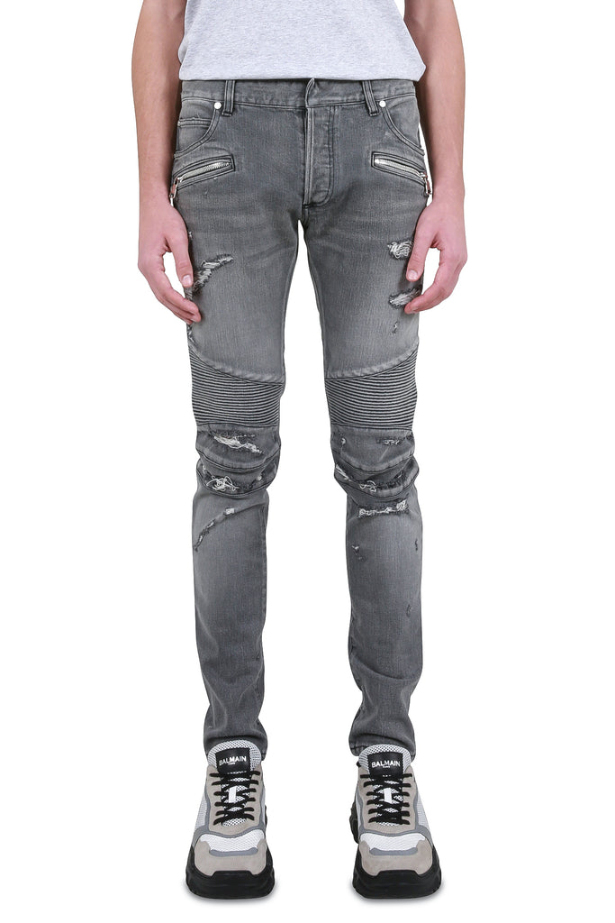 BALMAIN: Destroyed Biker Denim - Grey | LESSONS