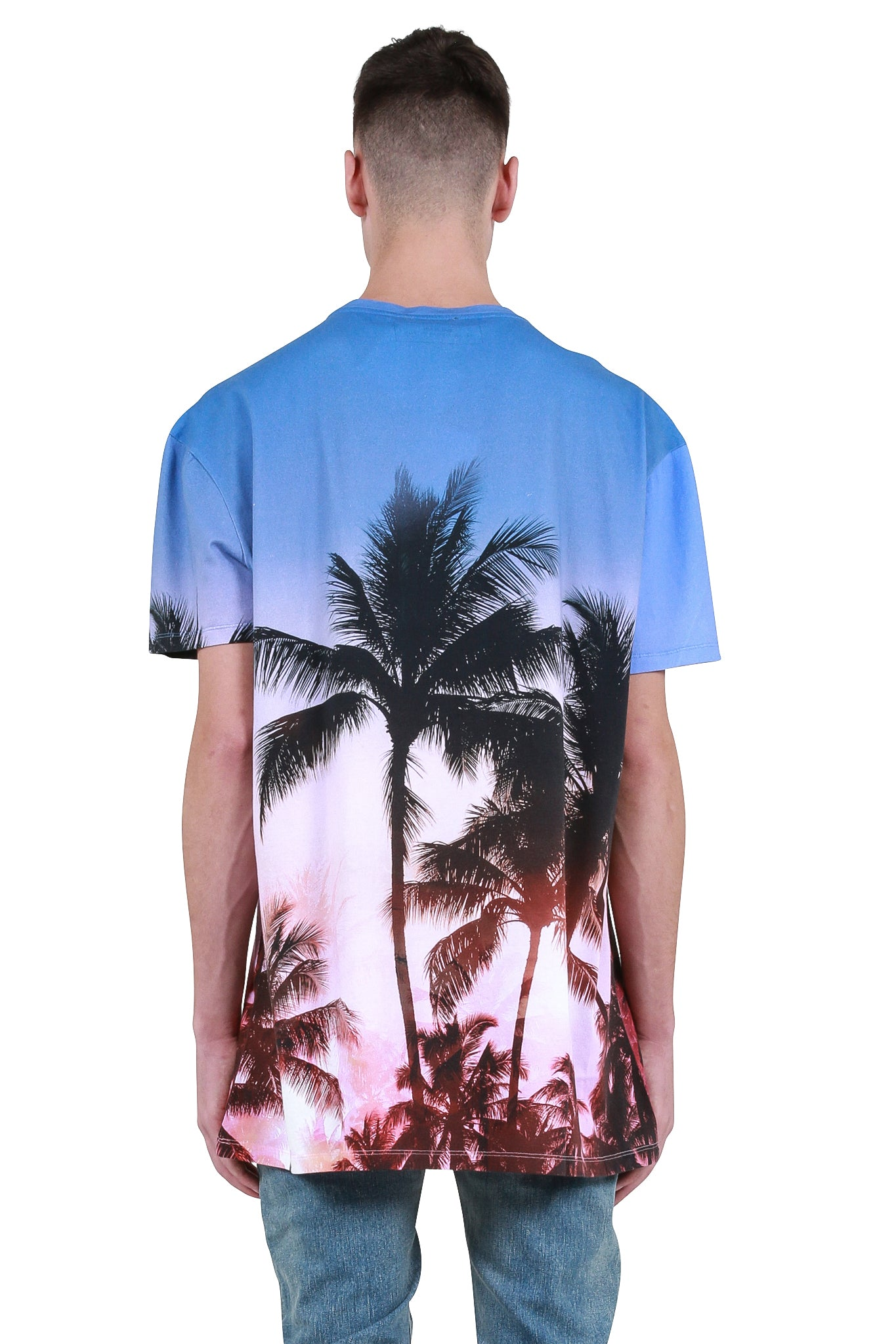 37cfd1be Balmain: Oversized Beach Club Sunset Print T-Shirt - Multicolor ...