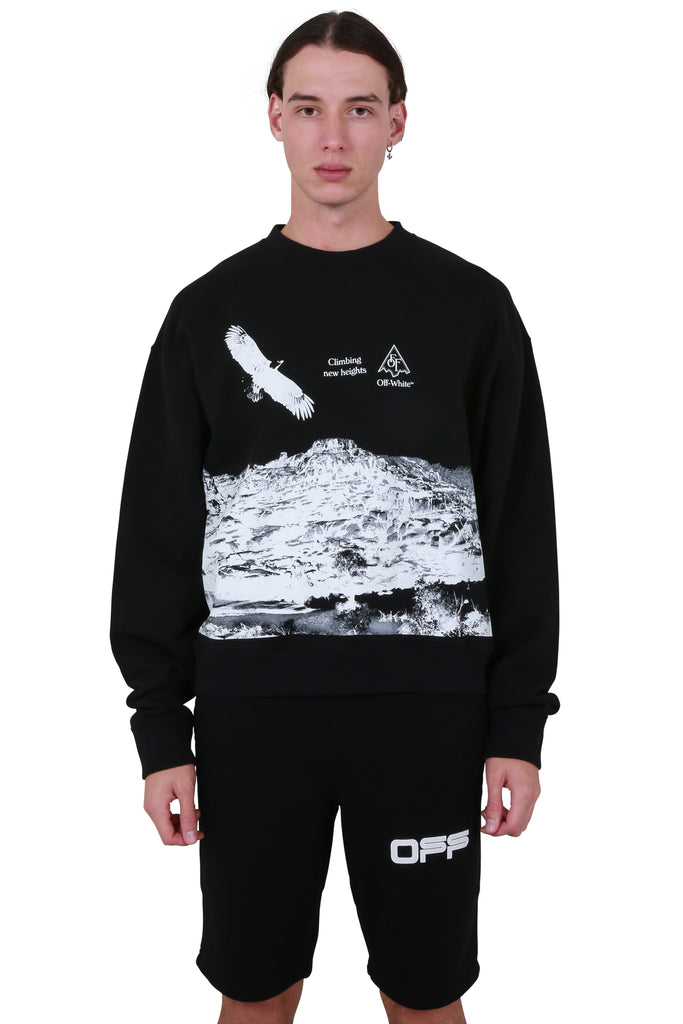 Eagle Landscape Over Crewneck - Black/White