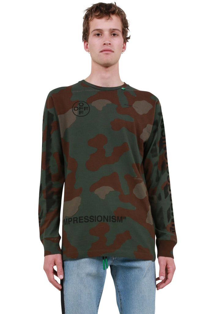 Diagonal Stencil Camo Long Sleeve T-Shirt