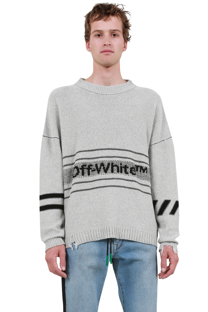 OFF-WHITE: Cotton Logo Knit Sweater - Grey | LESSONS