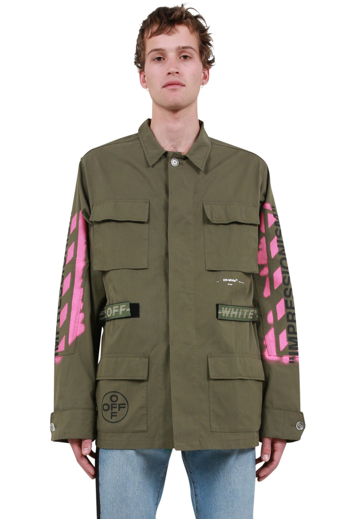 Diagonal Arrows Field Jacket - Military Green