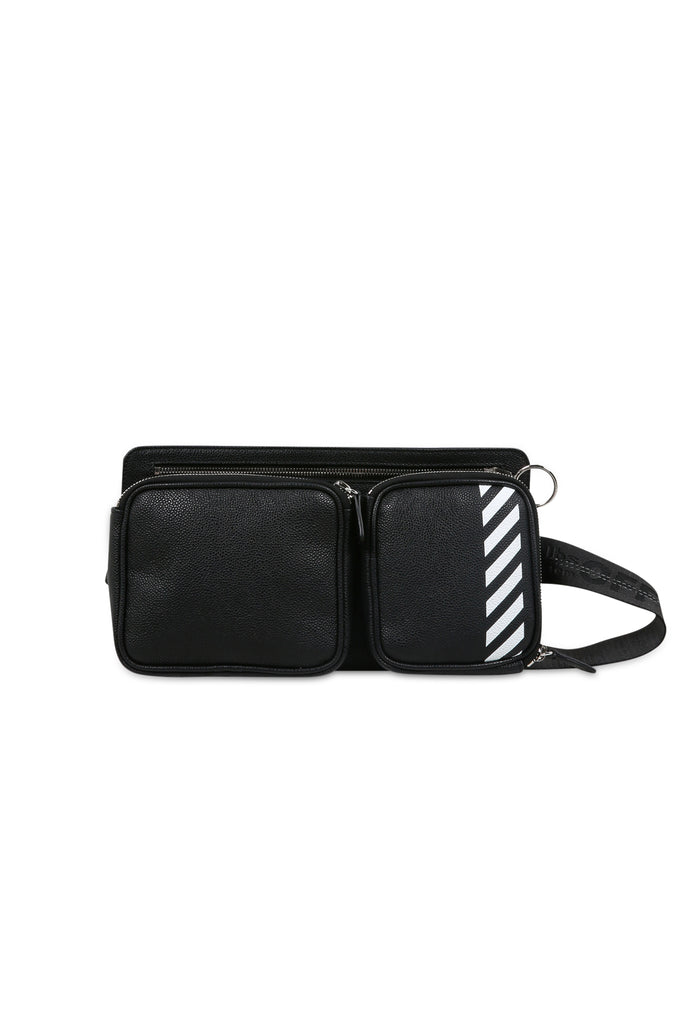 Diagonal Leather Hip Bag - Black