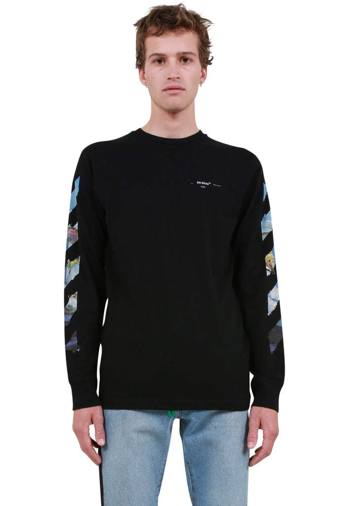 Diagonal Colored Arrows Long Sleeve T-Shirt - Black