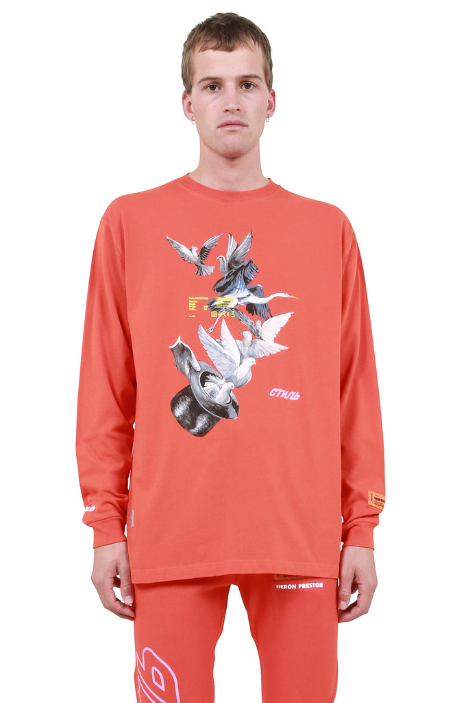 Herons Doves Long Sleeve T-Shirt - Coral Red