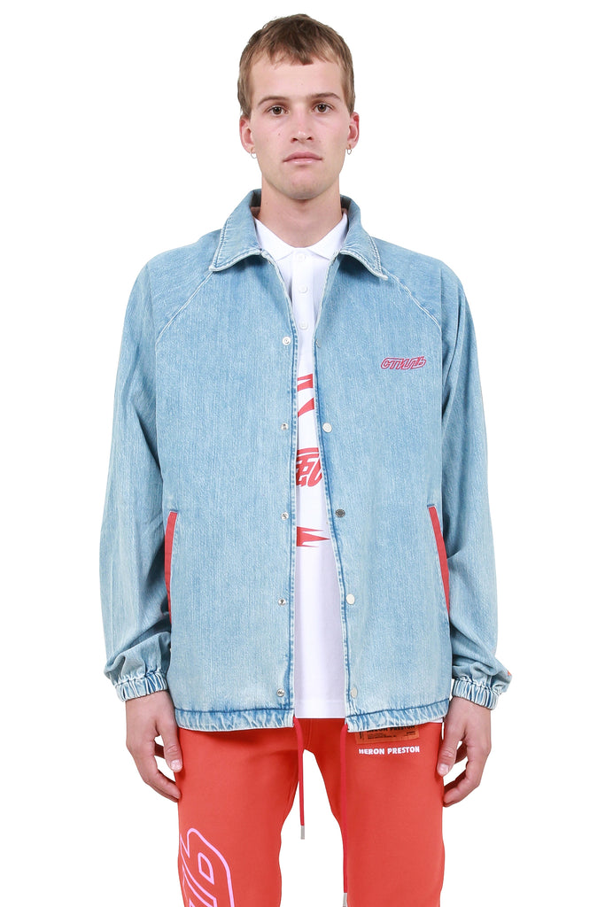 HERON PRESTON: CTNMB Denim Coach Jacket - Light Blue | LESSONS