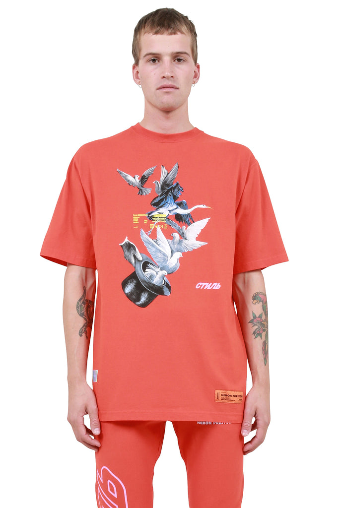 Herons Doves T-Shirt - Coral Red