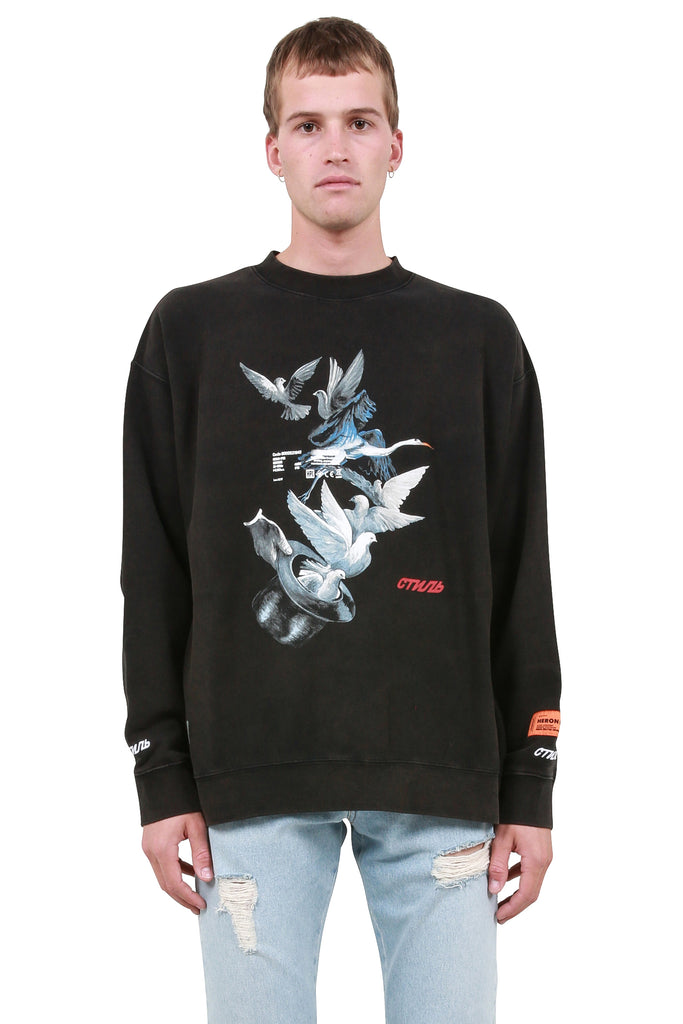 Herons Doves Crewneck - Black