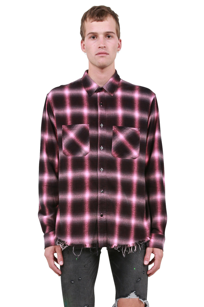 Neon Highlight Plaid Shirt - Neon Pink