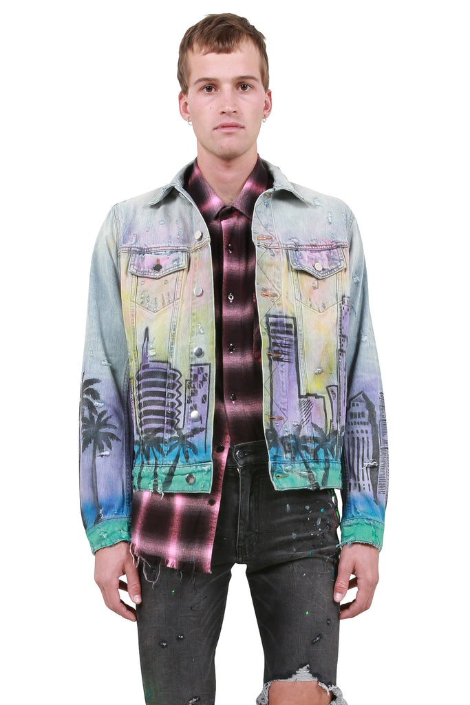 AMIRI: Airbrush Hollywood Trucker Jacket - Vintage Indigo | LESSONS