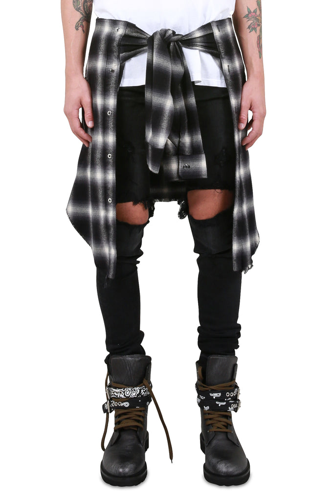 Plaid Waist Shirt - Black