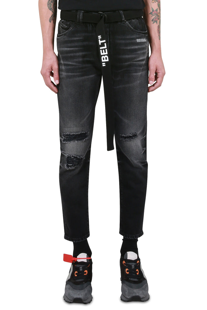 Slim Low Crotch Denim - Black Clay Wash
