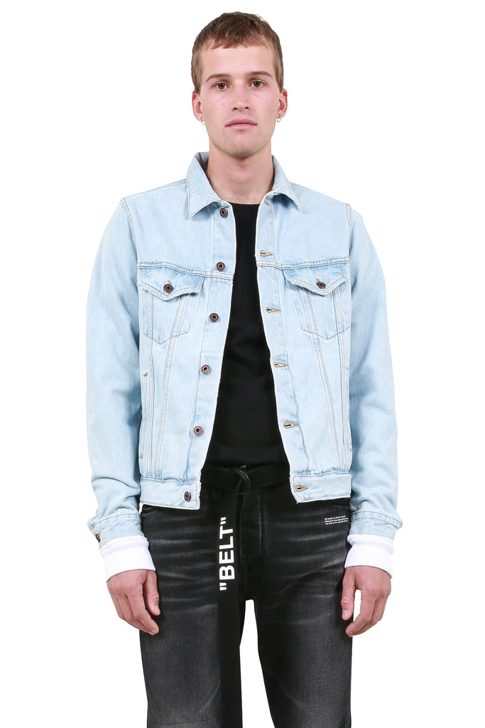 Slim Denim Jacket w/ Fleece - Bleach