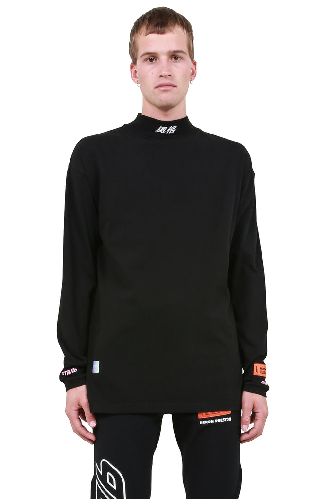 HERON PRESTON: CTNMB Chinese Logo Turtleneck - Black/White | LESSONS