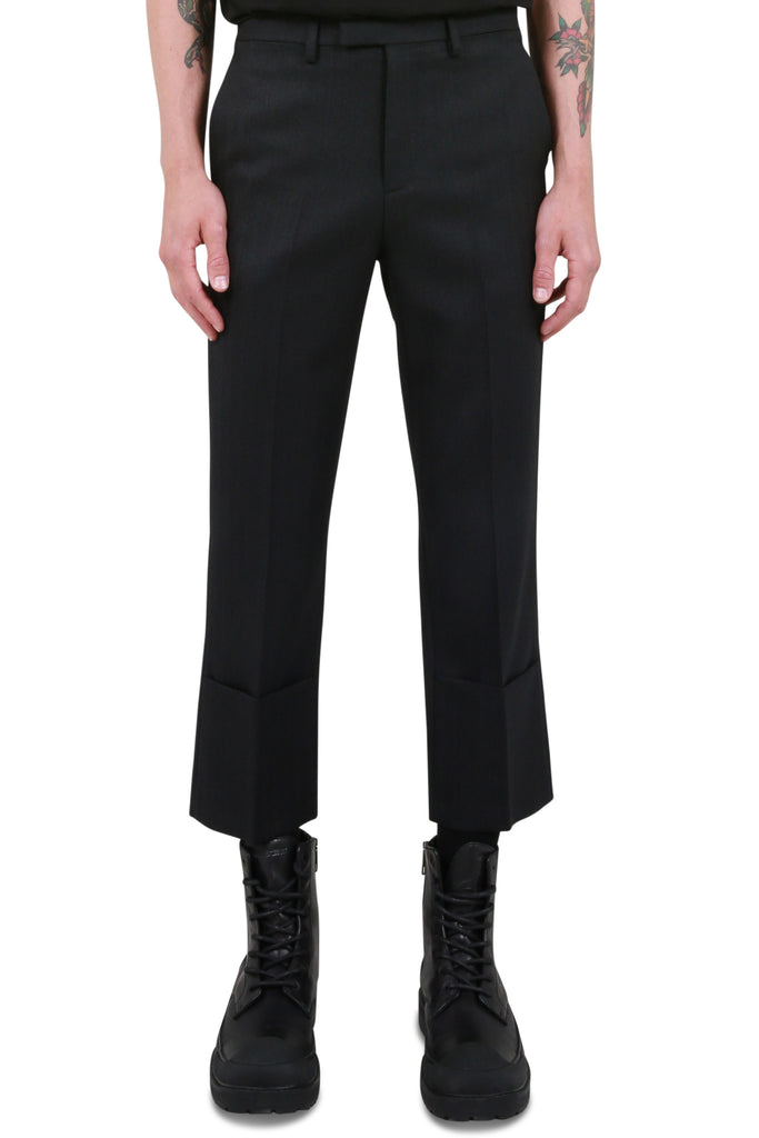 Slim Fit Turn-Up Pants - Black