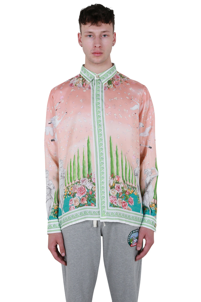 Printed Long Sleeve Silk Shirt - Maison De Repos