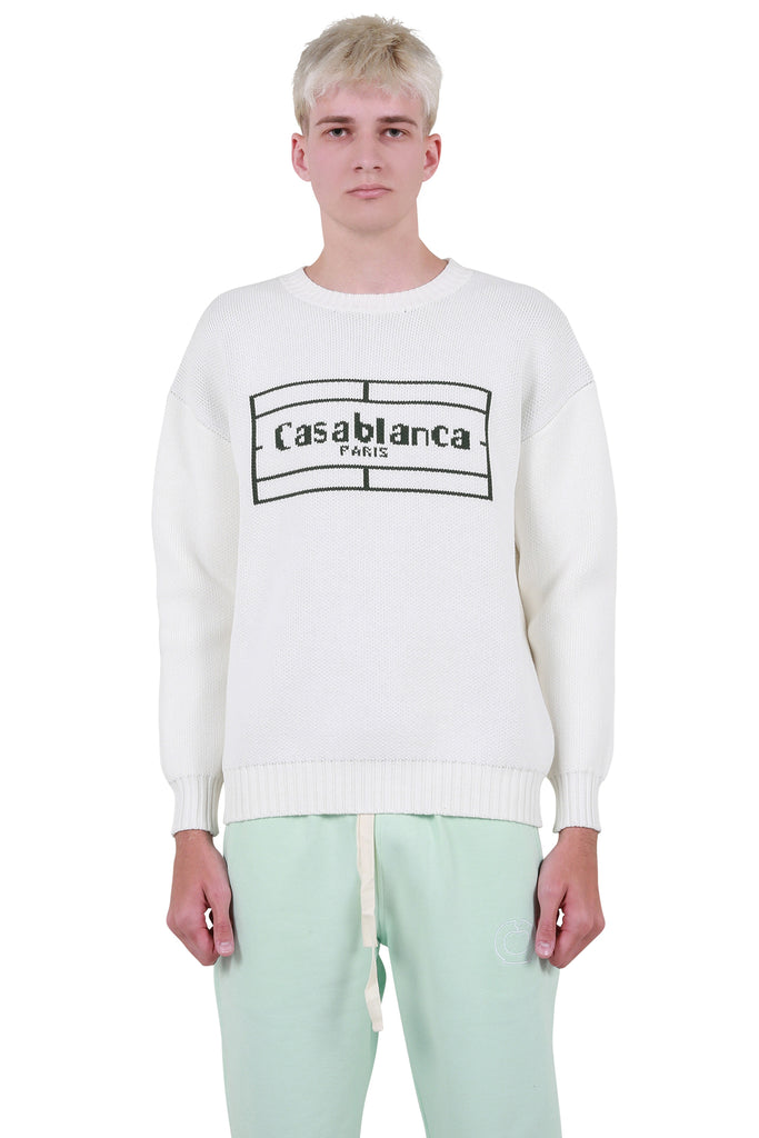Tennis Logo Knit Sweater - White