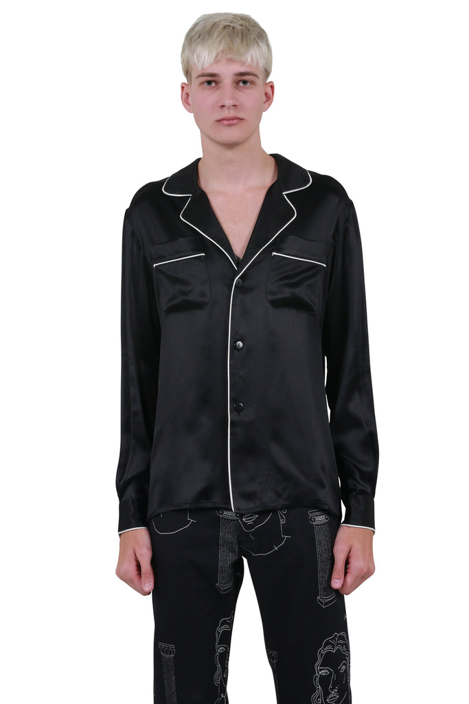 Soiree Silk Pyjama Shirt - Black