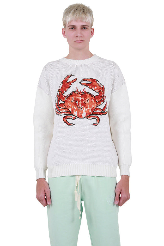Crab Knit Sweater - White