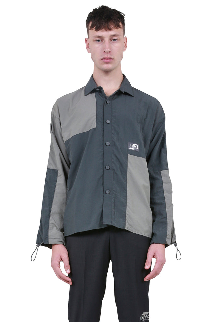 C2H4: Color Blocked Cords Shirt - Dark Grey | LESSONS
