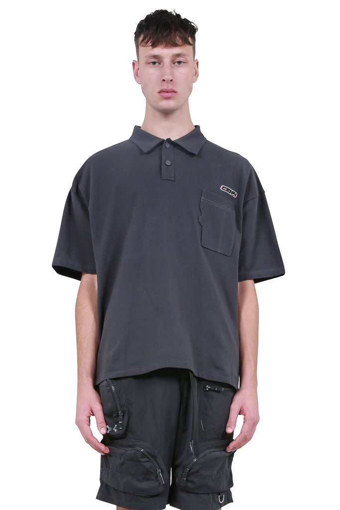 SD Card Pocket Polo Shirt - Dark Grey