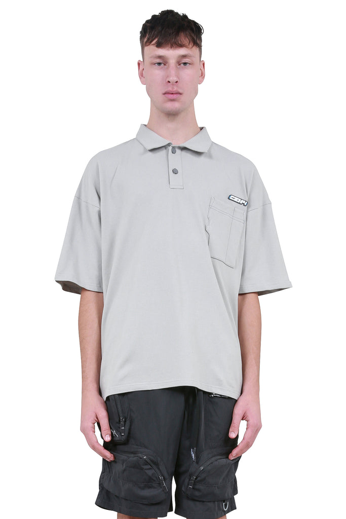 SD Card Pocket Polo Shirt - Light Grey