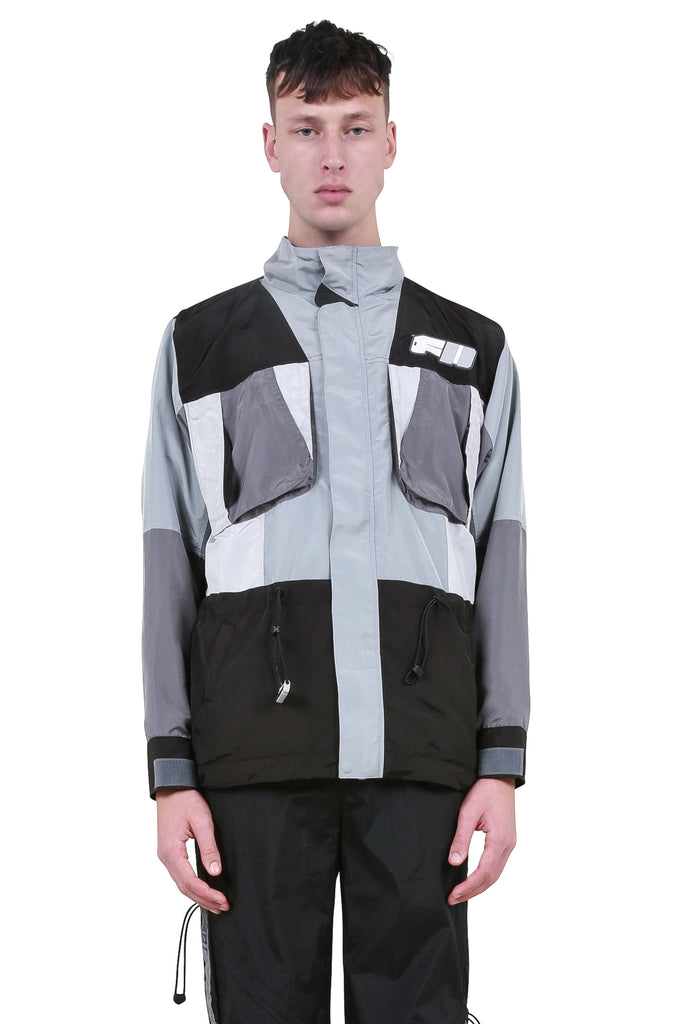 C2H4: Color Blocked Utility Tactical Jacket - Grey/Black | LESSONS