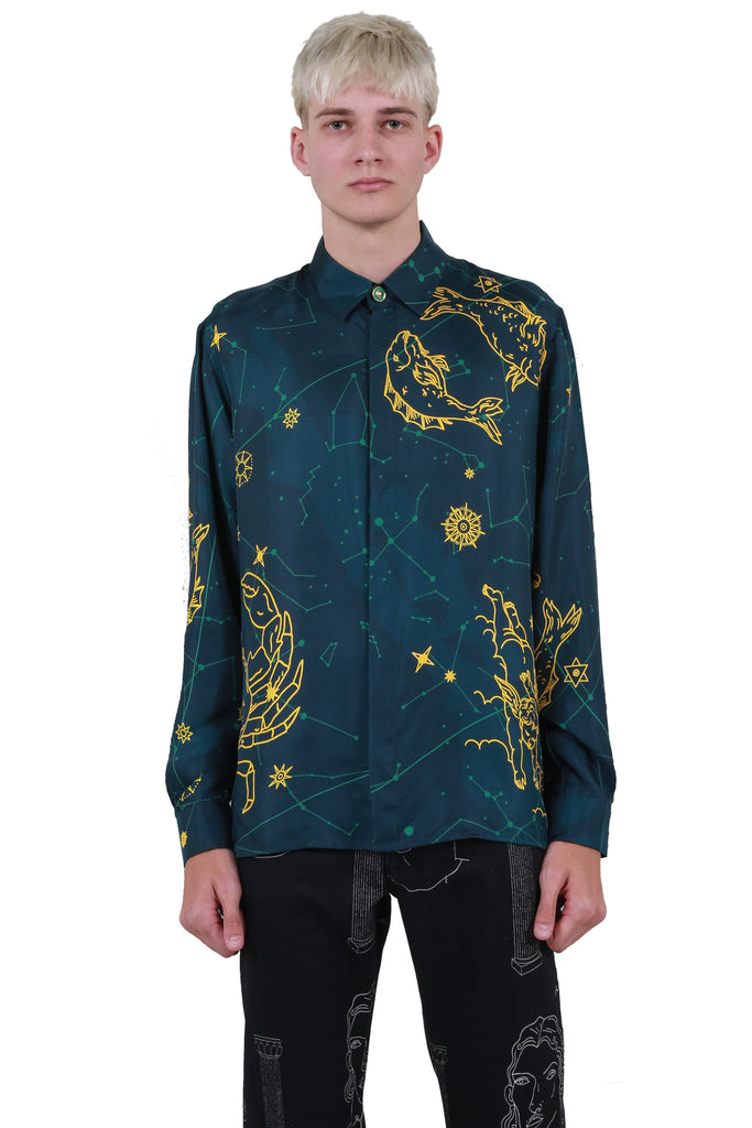 Constellation Silk Shirt - Blue
